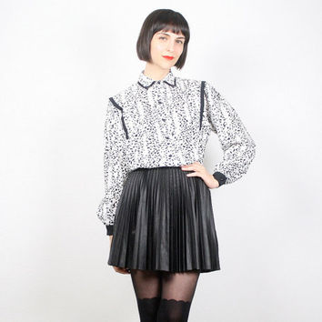 Vintage 80s Blouse Black White Blouse Snow Leopard Print Shirt Secretary Dress Top Pleated Avant Garde Blouse New Wave 1980s S Small Medium