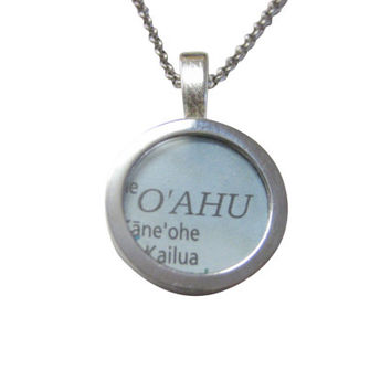 Oahu Hawaii Map Pendant Necklace