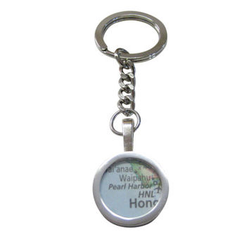 Pearl Harbor Hawaii Map Pendant Key Chain