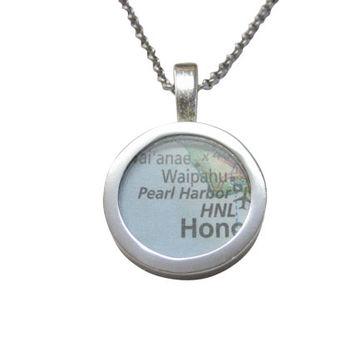 Pearl Harbor Hawaii Map Pendant Necklace