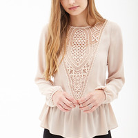 Crochet Paneled Chiffon Blouse