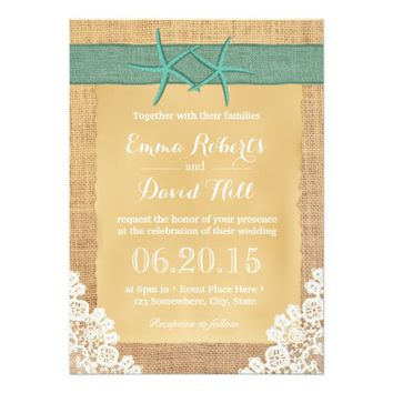 Teal Starfish Lace & Burlap Wedding