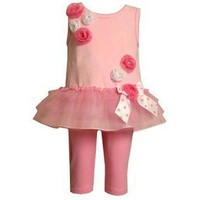 Bonnie Jean Pink Ballerina Roses Style Set with Leggings