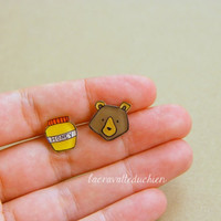 Bear and honey stud earrings - Woodland animal jewelry - wearable art jewelry