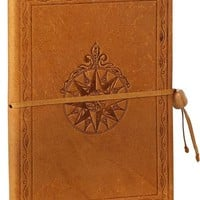 Windrose Embossed Caramel Italian Leather Journal with Bead Tie 6'' x 8''
