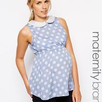 New Look Maternity | New Look Maternity Sleeveless Spot Blouse With Contrast Collar at ASOS
