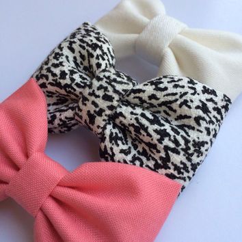 Snow leopard, coral, winter white Seaside Sparrow hair bow lot.  Perfect birthday gift for any girl.