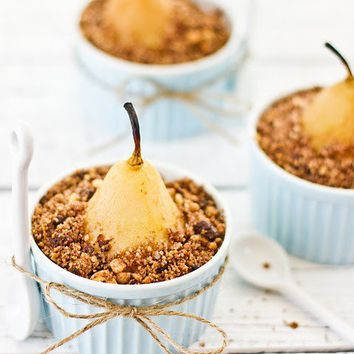 Sips and Spoonfuls: Poached Pear Crumble With Chocolate, Coffee and Nuts and So