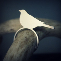 Bird silhouette ring by UntamedMenagerie on Etsy