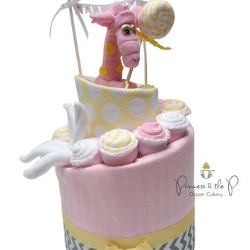 2 Tier Sweet Treats Diaper Cake, Topsy Turvy Diaper Cake, Baby Shower, Centerpiece, Decoration, washcloth lollipop, cupcake