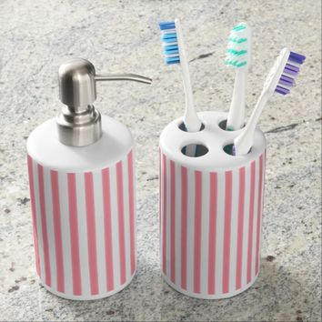"""Pink Lines"" Abstract Bath Set"