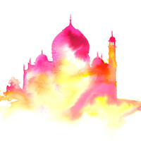 Splash of India, print from original watercolor of Taj Mahl by Jessica Durrant