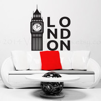 London Big Ben vinyl wall decal, wall sticker, decal, wall graphic, vinyl decal, home decor, vinyl graphic decal, wall art
