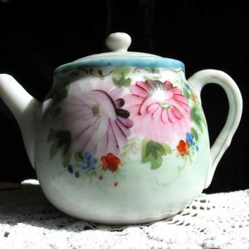 Antique Childs Hand Painted Teapot Tea Pot Item 1951