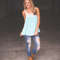 Blue Crochet Tunic Tank