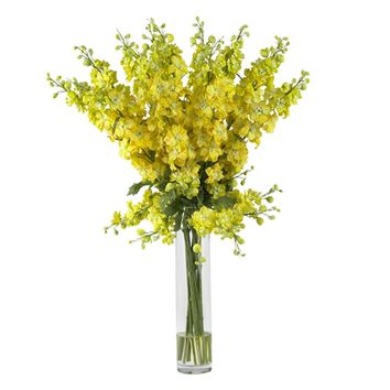 SheilaShrubs.com: Yellow Delphinium Silk Flower Arrangement 1224-YL by Nearly Natural : Artificial Flowers & Plants