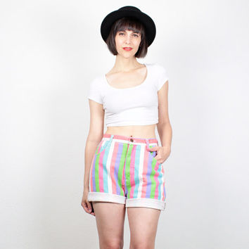Vintage High Waisted Denim Shorts Rainbow Striped Jean Shorts 1980s 80s New Wave Colored Denim Hot High Waisted Shorts Knee Length M Medium