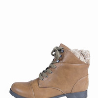 KNITTED CUFF COMBAT BOOTIES - TAUPE