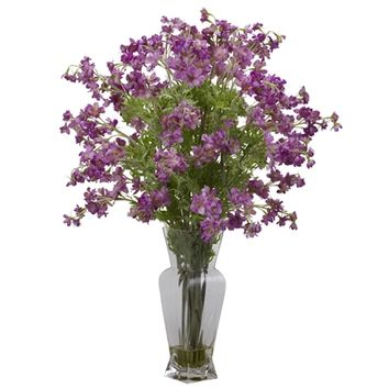 SheilaShrubs.com: Purple Dancing Daisy Silk Flower Arrangement 1253-PP by Nearly Natural : Artificial Flowers & Plants