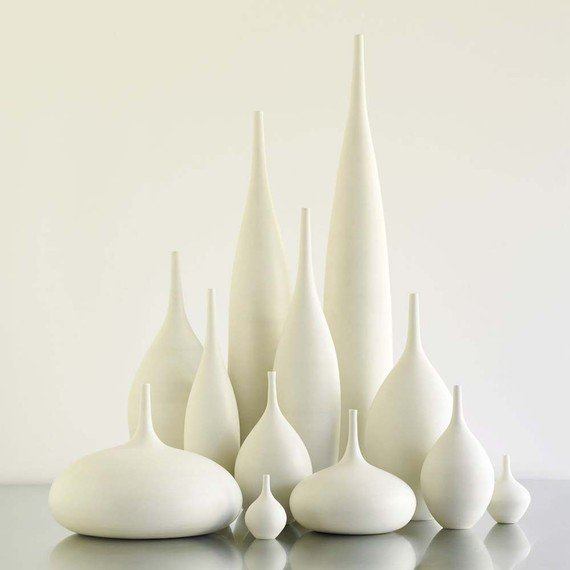 12 White Ceramic Modern Bottle Vases by Sara Paloma by sarapaloma
