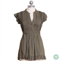 finding forest curvy plus ruffle top - $32.99 : ShopRuche.com, Vintage Inspired Clothing, Affordable Clothes, Eco friendly Fashion