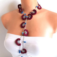 Burgundy Flowers Hand Crocheted Lariat Necklace or by fairstore
