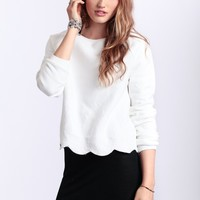 Crescent Moon Scalloped Sweater By JOA