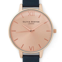 Olivia Burton Luxe Undisputed Class Watch in Rose Gold, Navy