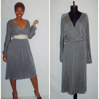 Vintage 1970s Pleated Gray Dress Plus Size Dress