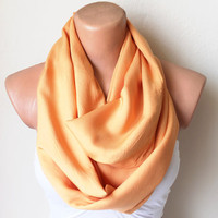 Orange Loop Infinity Circle Scarf Soft and by fairstore on Etsy