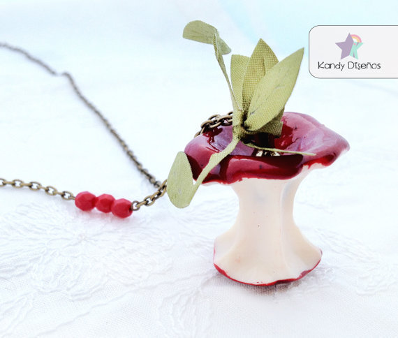 Apple Necklace Bitten red apple necklace Fruit by KandyDisenos