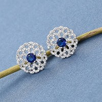 Women's Rhodium Plated Alloy Earrings with White CZ Micropave Setting-Hallow Out Lace Flowers and Color Gem Stones W4509 0730J