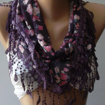 Purple flowered Elegance Shawl --- Scarf with Lacy Edge by womann