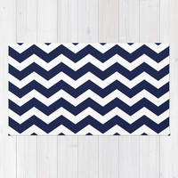Chevron Navy Blue Area & Throw Rug by BeautifulHomes | Society6