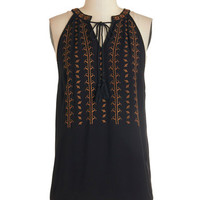 ModCloth Boho Mid-length Sleeveless Balos Lagoon Top in Black