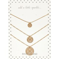 Gold tone filigree coin necklace pack