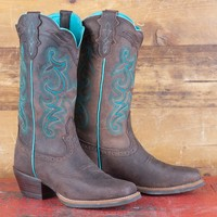 Justin Brown and Turquoise Silver Label Boots