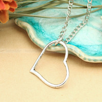 Vintage silver heart necklace True love heart by luckyvicky