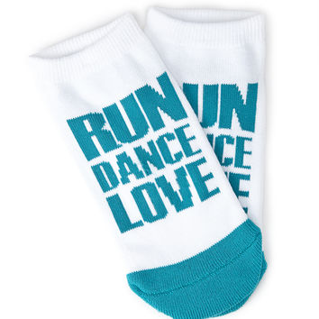 FOREVER 21 Love Athletic Socks White/Teal Blue One