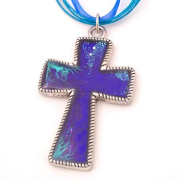 Abstract Painted Cross Necklace in Blue/Purple and Turquoise