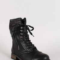 Bamboo Battle-24 Sweater Collar Military Lace Up Boot