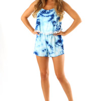 Ocean Waves Romper: Blue/Tie-dye