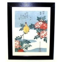 Canary and Rose ~ Hokusai ~ Framed Vintage Woodblock Print
