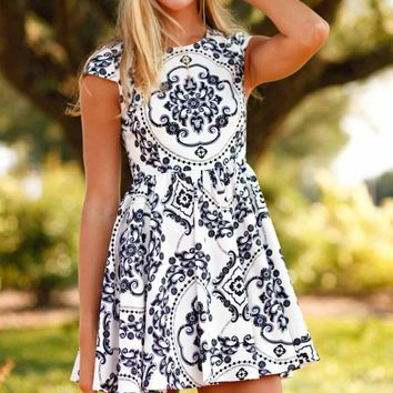 Baroque My Heart Navy and White Printed Dress