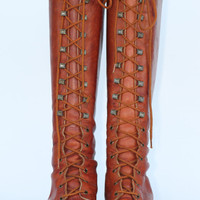 Vintage Zodiac tall lace up leather campus by uniqueboutlque