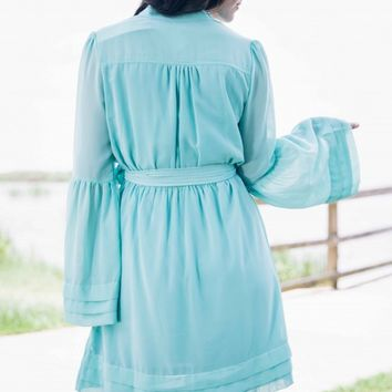 A Belle in Aqua Bell Sleeve Dress - Lotus Boutique