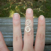 Freeform Adjustable Sterling Silver Plated Wire Knuckle Ring Any Size Boho Jewelry