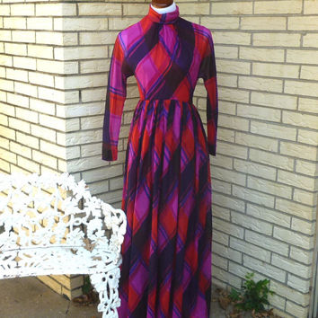 SALE Vintage 1960's Maxi Dress Gino Charles Designer Medium