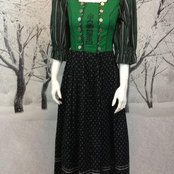 Retro Isola Austrian Dirndl Dress Ladies Size 44 Cotton Emerald Green Navy Blue Vintage Great Condition Traditional Austria Bavarian Style