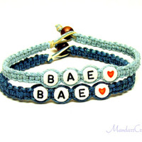 Bae Bracelets, Set of Two for Couples or Best Friends, Dark Teal and Light Blue Hemp Jewelry